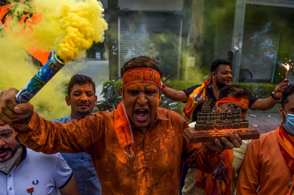 Hindus celebrate at the Ayodhya temple ceremony.