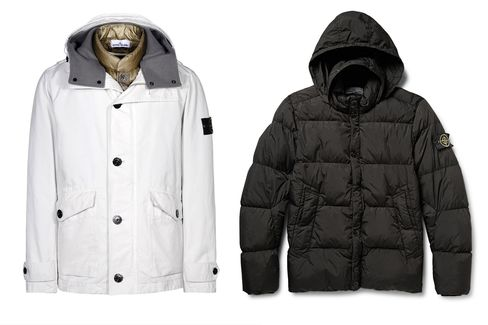 Stone Island's David-TC jacket (left) and quilted shell down coat (right). Also check out itsimpressive Shadow Project collection.
