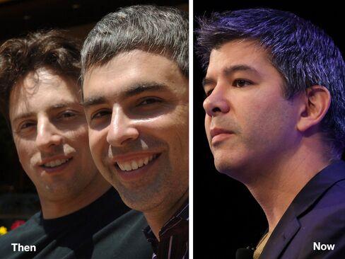 L-R: Sergey Brin and Larry Page, 2005; Travis Kalanick, 2014