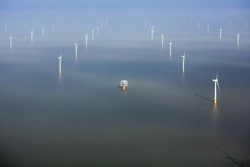 Wind turbines in the North Sea at the London Array offshore wind farm, a partnership between Dong Energy A/S, E.ON AG and Abu Dhabi-based Masdar.
