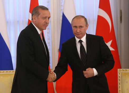 Erdogan and Putin in Saint Petersburg.