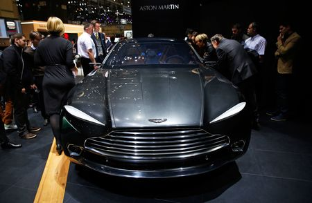 The Aston Martin DBX crossover concept, shown at the Geneva Motor Show in 2015.