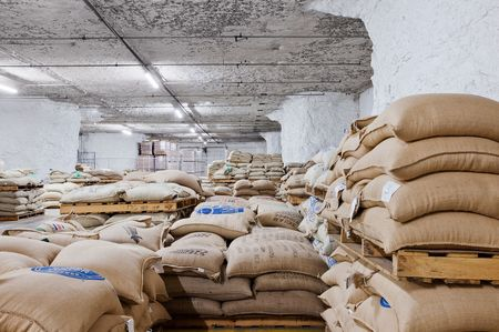 """I have no idea how many pounds of coffee I have down here,"" says Joe Paris, vice president at Paris Brothers, a specialty foods company. ""I have thousands of bags. Some of them are 60 or 70 kilos. It's a lot."""