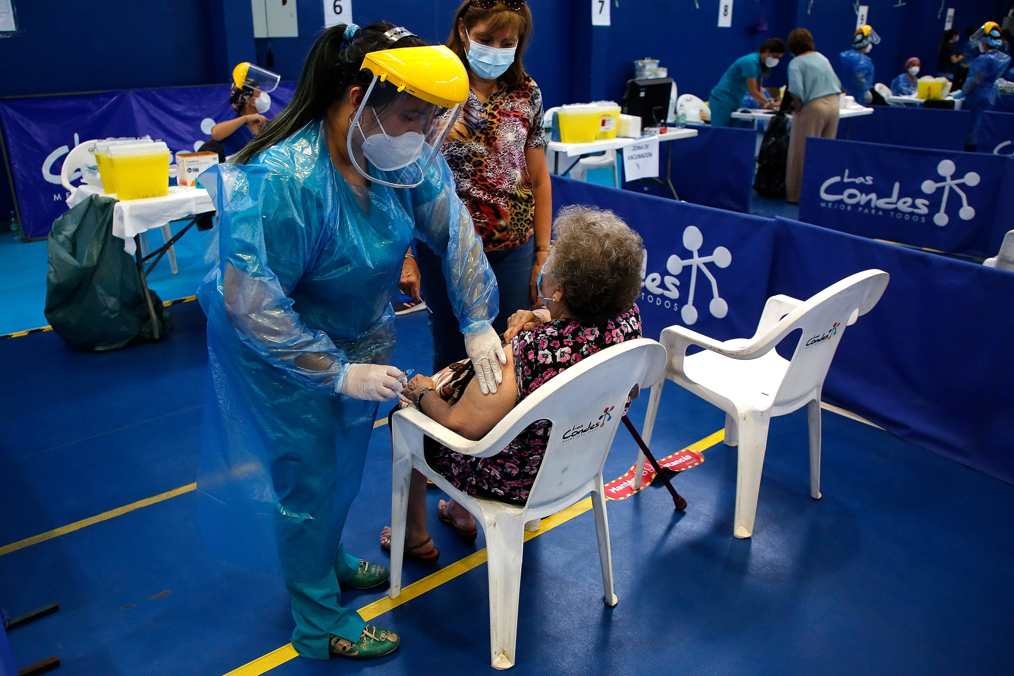 Mass vaccination in Santiago, Chile on Feb. 3.