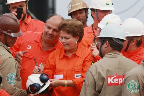 At the inauguration of the Petrobras P-56 platform in 2011.