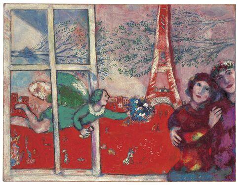 Marc Chagall, Les Mariés de la Tour Eiffel, 1928