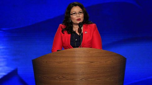 Then-House candidate Tammy Duckworth of Illinois speaks at the Democratic National Convention in Charlotte, N.C., on Sept. 4, 2012.
