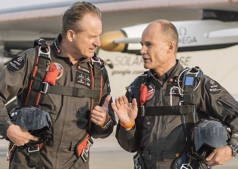 Two pilots, one plane. Borschberg and Piccard.