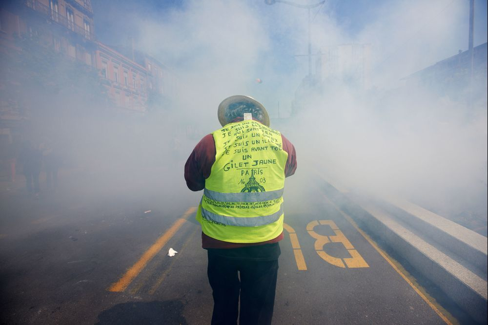A Yellow Vest amid tear gas in Toulouse on April 13th.