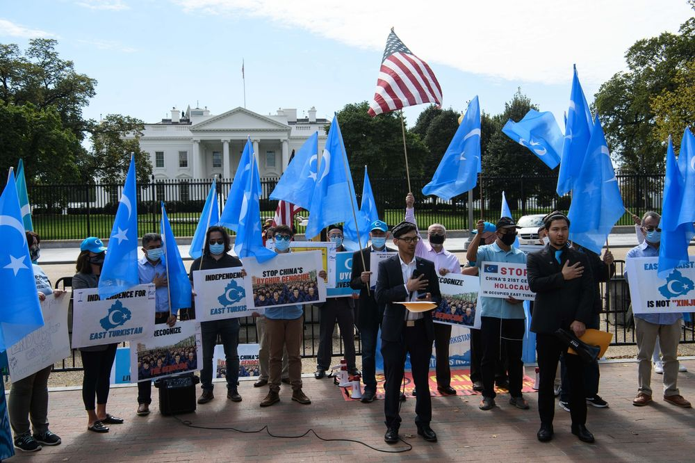 Uighurs protest the 71st anniversary of the People's Republic of China in front of the White House on Oct. 1, 2020.