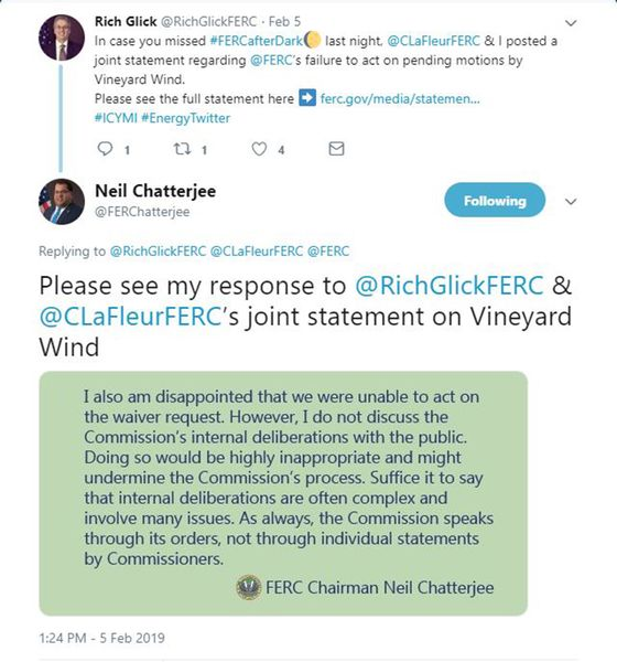 Twitter Spat Erupts as FERC Chair Scolds Colleagues for Post
