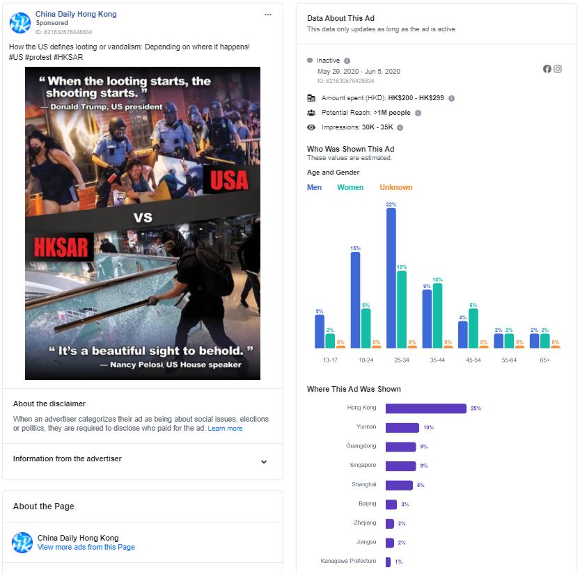 Une publicité du China Daily Hong Kong qui a atteint la Chine continentale sur Facebook au plus fort des manifestations américaines contre la violence policière.