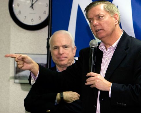Senator Lindsey Graham(right)speaks in support of Senator John McCain during a campaign stop in Greenville, S.C., on Jan. 10, 2008.