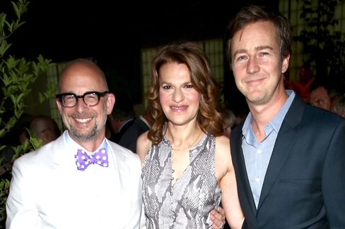 Joshua David, Sandra Bernhard and Edward Norton. Photographer: Paul Zimmerman/Getty Images