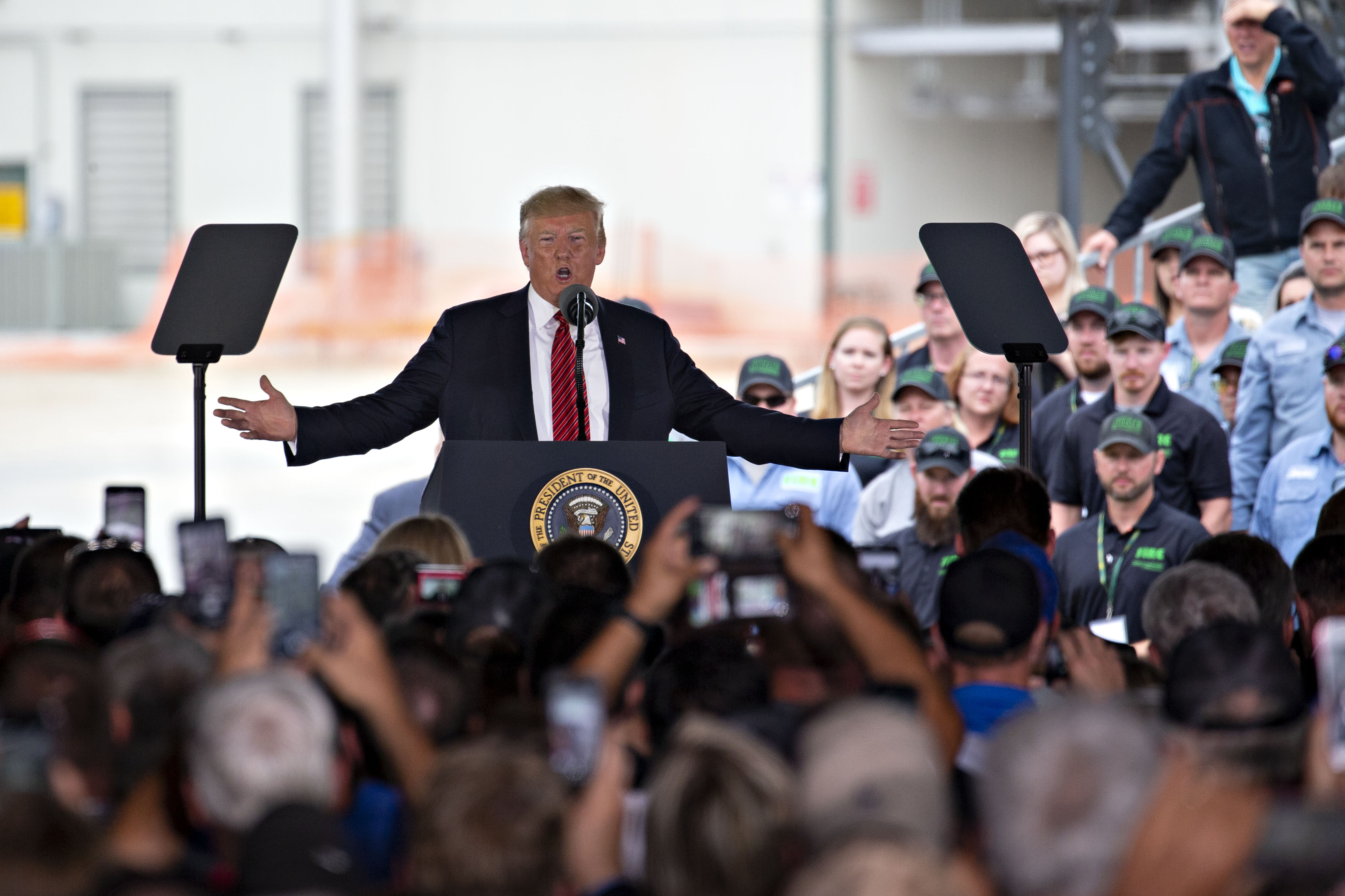 Donald Trump speaks at an ethanol facility in Council Bluffs, Iowa on June 11.