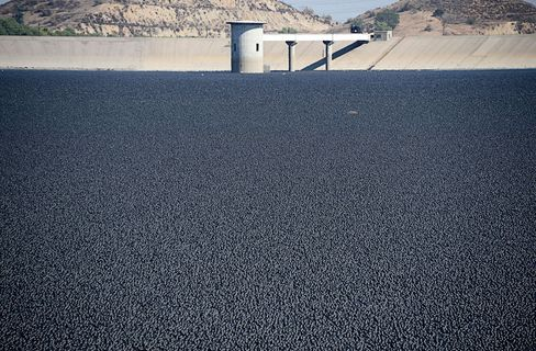 The final 20,000 of 96 million shade balls are released at the LA Reservoir, on Aug. 10, 2015.