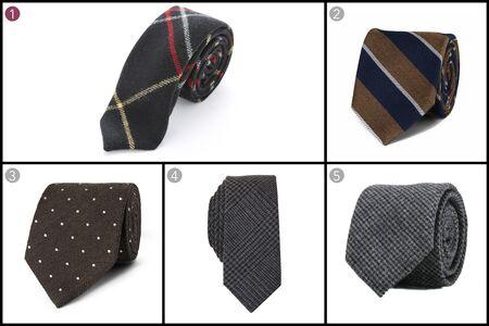 (1) Large windowpane wool, Alexander Olch, $150, olch.com; (2) Club Monaco, $89.50, clubmonaco.com; (3) Polka dot wool blend tie, Dunhill, $150, mrporter.com; (4) Carnaby plaid skinny tie, Bar III, $49.50, macys.com; (5) Charcoal micro check tie, Sprezza, $25, sprezzabox.com.