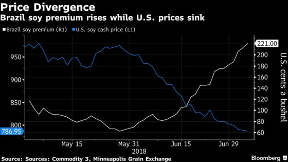 U.S. Soybean Prices Crumble as Trade War Sparks Brazil Rally