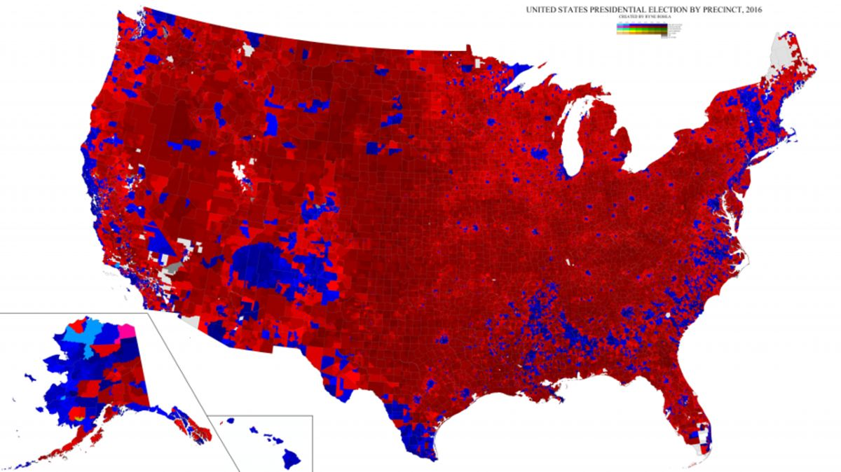 Us Voting Map By County 2016 Map of Precinct Reporting of the 2016 Election   Bloomberg