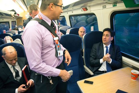Labour Leader Ed Miliband travels back by train from Leeds to London after speaking at an election rally, on April 23, 2015.