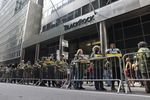 Members of the United Mine Workers of America picket outside the BlackRock offices in New York, on July 28.