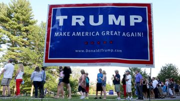 The public waits to enter an auditorium to hear Donald Trump speak on Aug. 19, 2015, in Derry, New Hampshire.
