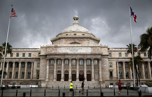 the Puerto Rican Capitol building on July 1, in San Juan, Puerto Rico.