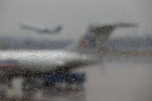 An AMR Corp. American Airlines Plane Seen Through Water Droplets
