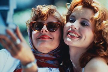 Actresses Susan Sarandon (left) and Geena Davis star in the film 'Thelma And Louise', 1991.