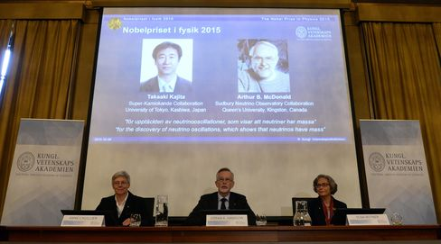 Photos of the winners of the Nobel Prize in Physics 2015 Takaaki Kajita and Arthur B. McDonald