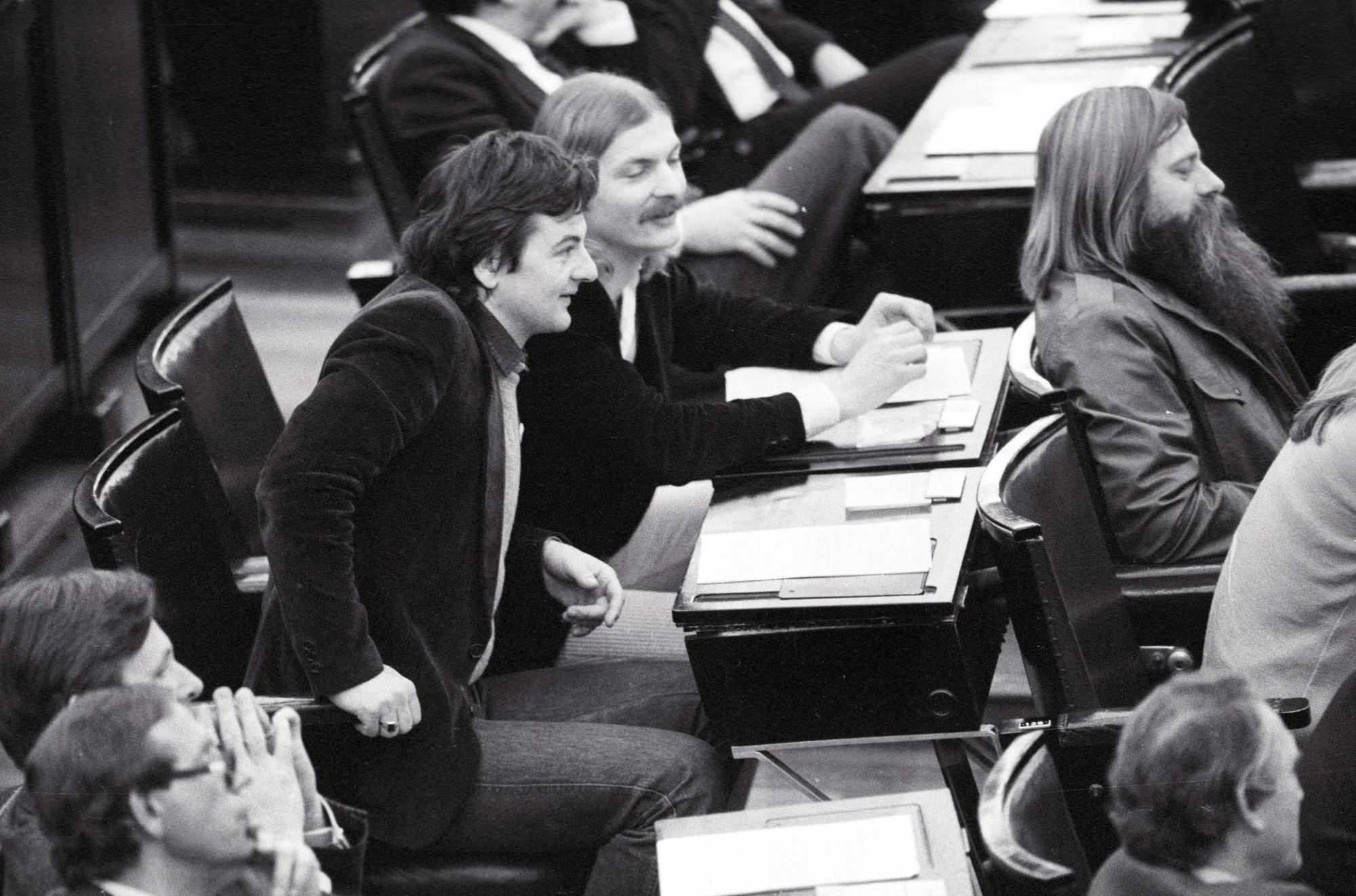 Joschka FISCHER, Hubert KLEINERT, Gert JANNSEN ( The Greens ) at the Federal German Parliament.