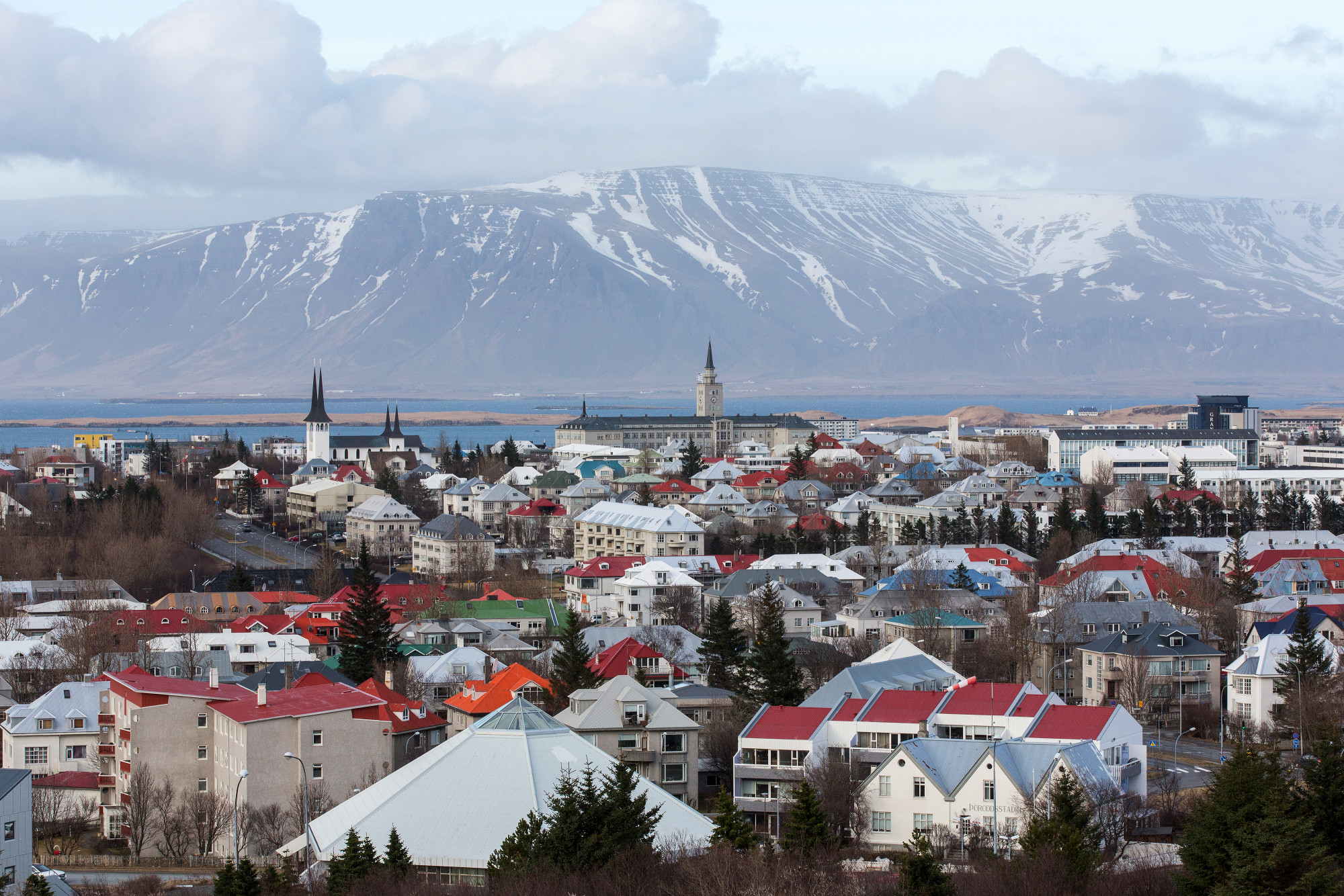 Residential properties stand on the city skyline in Reykjavik.