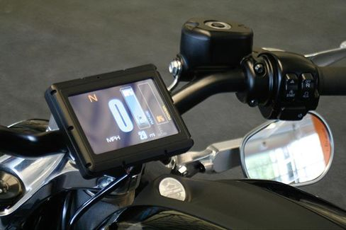 The control screen on Harley-Davidson's new electric motorcycle, at the company's research facility in Wauwatosa, Wis.