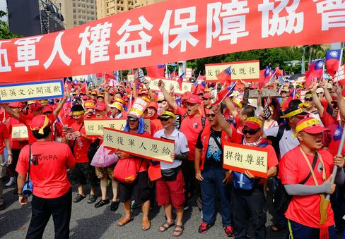 Protestors march in Taipei on Sept. 3.
