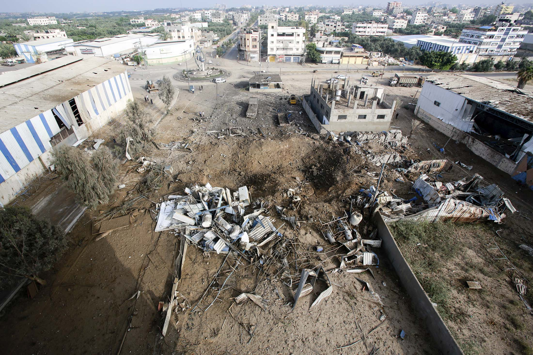 Debris seen at the site of an Israeli air strike.