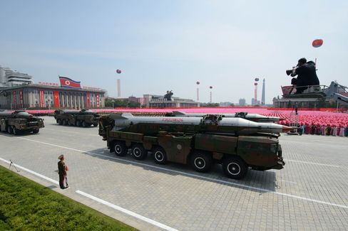 A North Korean missile is displayed during a military parade