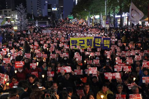 Protesters Demand President Park Steps Down In Seoul