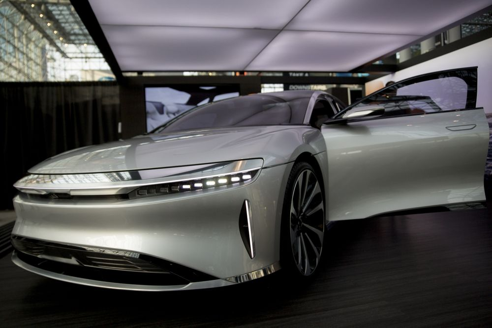 A Lucid Motors Vehicle Sits On Display During The 2017 New York International Auto Show
