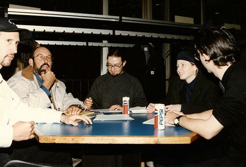 Hoefler (center) and Frere-Jones (far right) at the ATypI conference in 1996