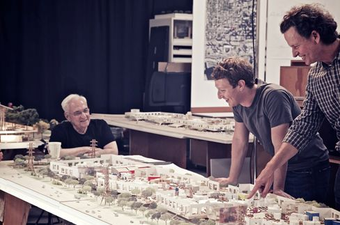 Frank Gehry, Mark Zuckerberg and Craig Webb