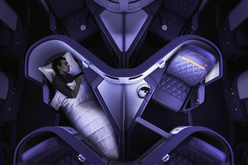 A man sleeping in Delta One on an Airbus 330-300 (333).