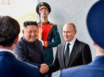 ロシアのプーチン大統領と北朝鮮の金正恩朝鮮労働党委員長
