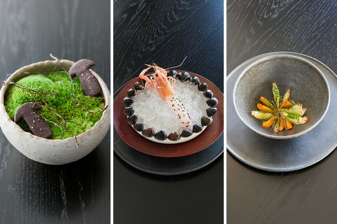 Dishes at Noma's pop-up in Tokyo included, from left: fermented mushrooms coated in chocolate, with wild cinnamon sticks for chewing; a raw shrimp (or in some cases a langoustine) with ants; citrus salad with kelp oil and sansho leaves and berries.