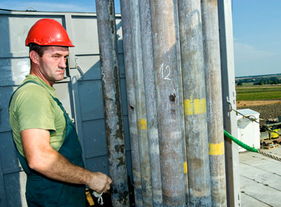 A worker at San Leon Energy's Chopin-1 exploration well in Pińczów in 2011