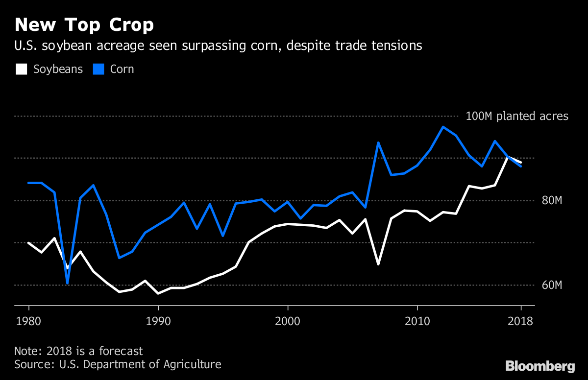 Soybean acres top corn