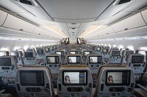 Inside the economy class cabin of the new Airbus A350-900 aircraft.