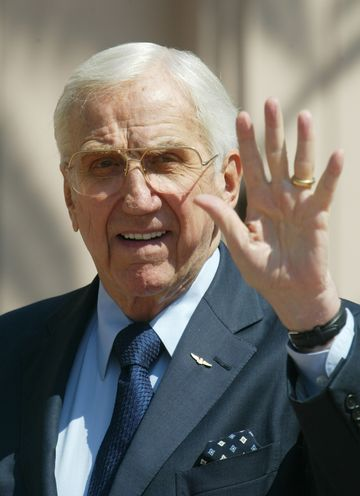 Ed McMahon arrives for a memorial service for Bob Hope at the Academy of Television Arts and Sciences in the North Hollywood section of Los Angeles August 15, 2003