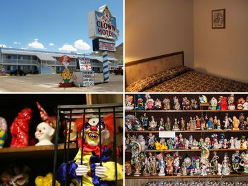 The clown motel in tonopah, nv has 28 rooms filled with figurines, and neighbors a cemetery. enthusiastic yelp reviewers describe it as