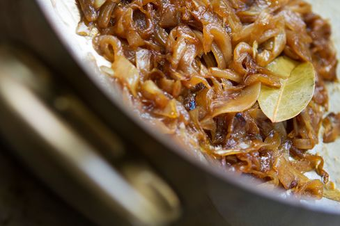 Like all burger toppings, slowly caramelized onions are optional but add a nice, sweet acidity.