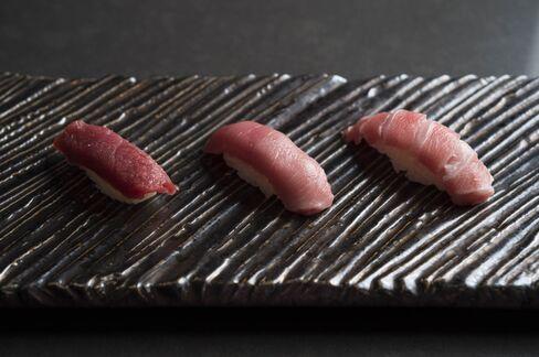 A flight of bluefin tuna from the Atlantic Ocean gets progressively fattier.